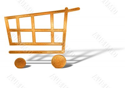 golden shopping cart icon concept isolated over white background