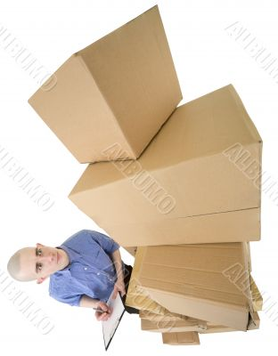 Man and pile cardboard boxes
