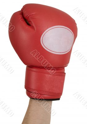 Hand in a red boxing glove