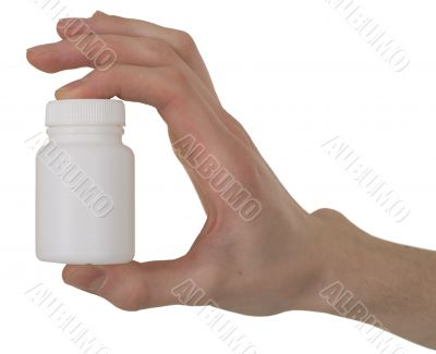 Vial with a drug in a hand