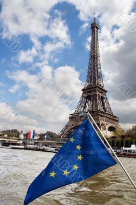 European Union flag and Eiffel tower