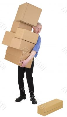 Man hold heap cardboard boxes
