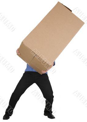Man holding big cardboard box