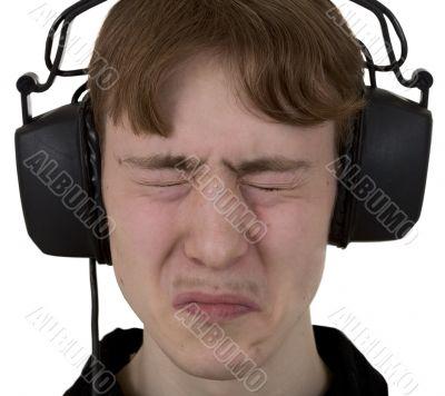 Guy with ear-phones on a head