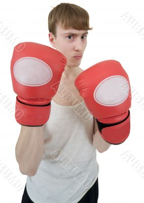 Thin boxer in red gloves
