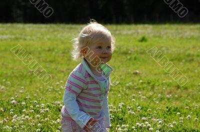 Child fighting wind