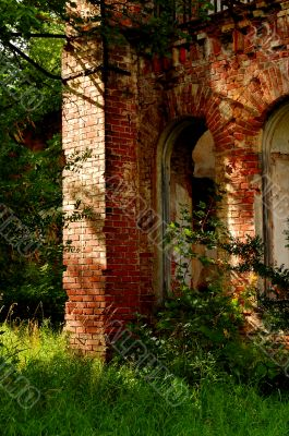 Abandoned old red brick structure