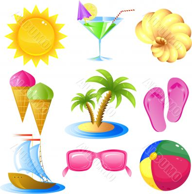 Vacation and travel icon set