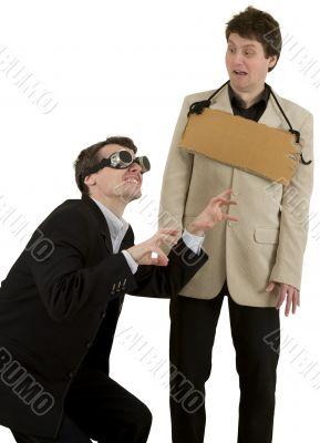 Men representing financial crisis