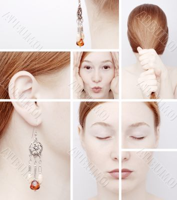 Collage of the girl with an earring