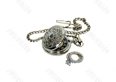 Pocket watch and diamond rings