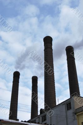 Ancient Brick Chimneys of Power Station