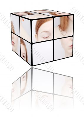 Portrait of the girl in a Rubic`s cube
