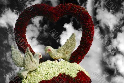 valentine birds and rose flower heart