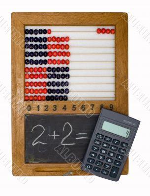 Children`s school board, abacus and calculator