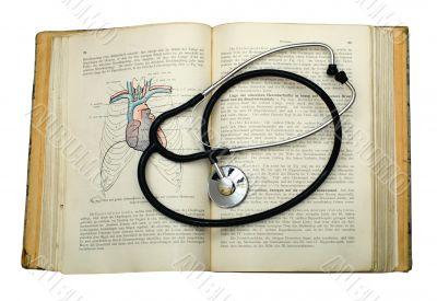 Retro 1907 atlas of anatomy and phonendoscope