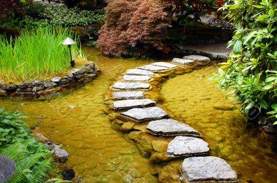 Garden pond path