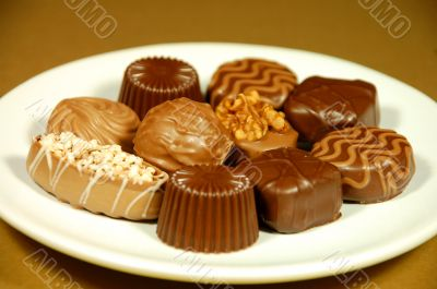 Chocolate candy on plate