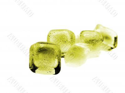Yellow Colored Ice Cube