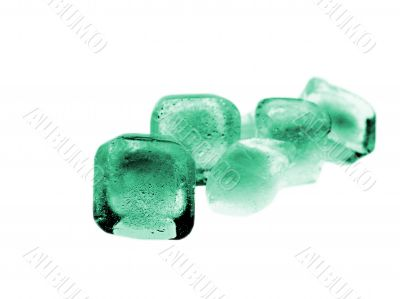 Green Colored Ice Cube