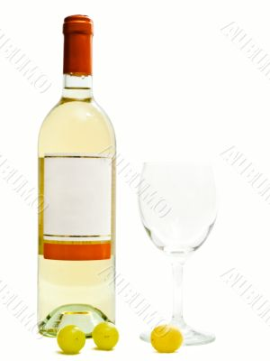 white wine with wineglass and grape