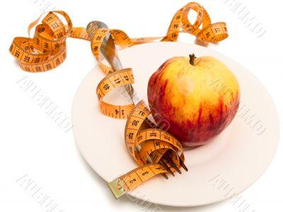 apple, fork and centimeter