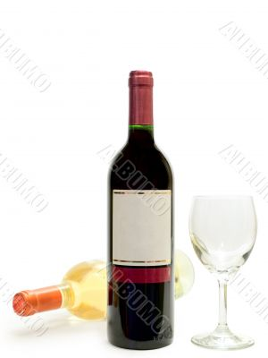white and red wine with wineglass