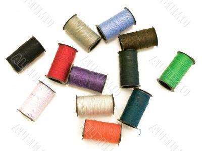 multicolored fiber spools