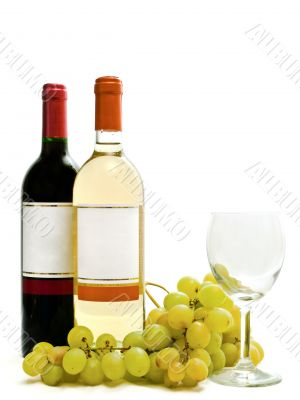 red and white wine with vine and wineglass