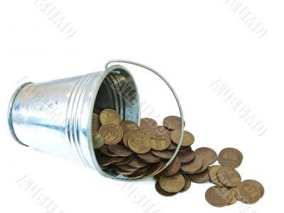 bucket with coins