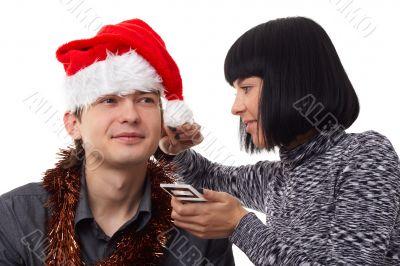 Christmas time. Makeup.