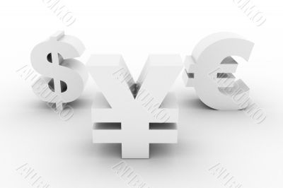 White Yen Dollar and Euro isolated