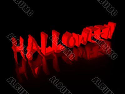 Inscription halloween on a black background