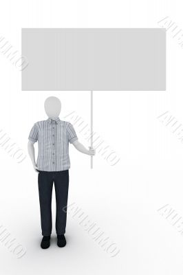 Human holds a billboard on white background
