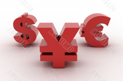 Red Yen Dollar and Euro isolated