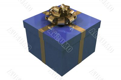 Blue present box isolated on white background