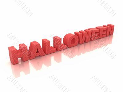 Red halloween inscription on white