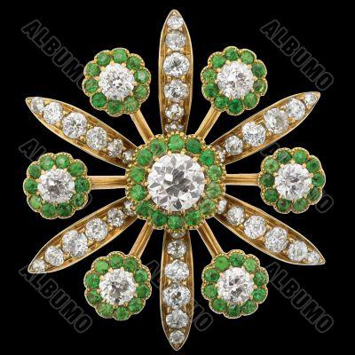 Diamond Brooch with Emeralds