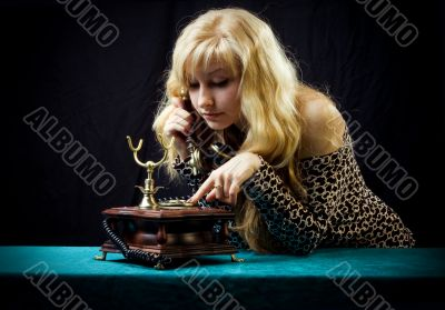 Lovely girl on telephone