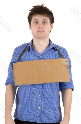 Man with carton tablet on neck
