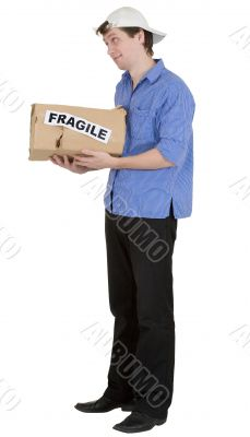 Man hold cardboard box with discription `fragile`