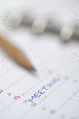 Diary, calendar, datebook, pencil, meeting