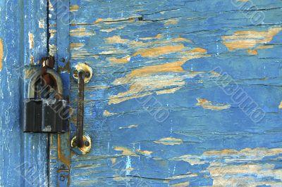 antique door close with padlock / background