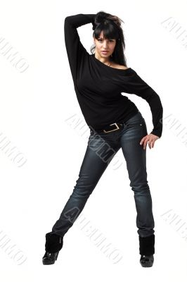 woman standing against isolated white background