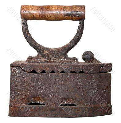 isolated rusty vintage charcoal iron