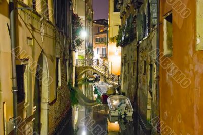 Small venetian canal at night