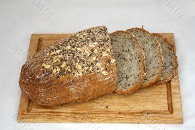 Sliced loaf of cereal bread