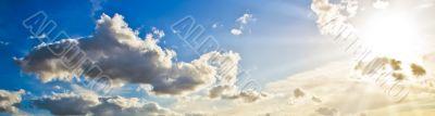 Beautiful sun rays in the sky