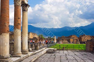 Ancient columns in Pompeii
