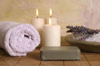 lavender bath items. aromatherapy